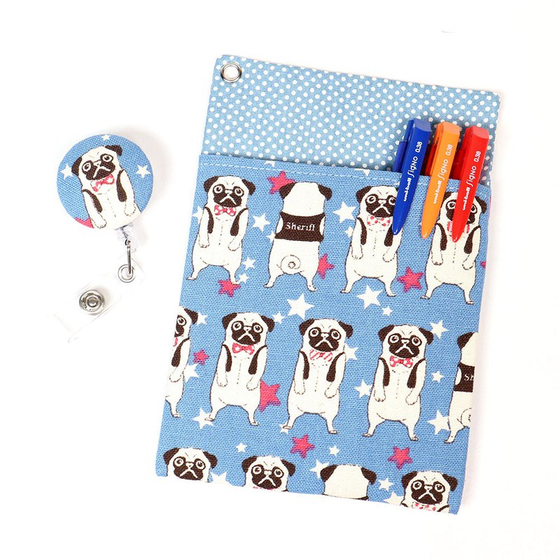Physician Pocket Pocket Leakproof Ink Pen Bag + Document Clip - Pug Dog (Blue)