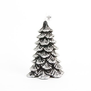Snowy Pine Tree Candle - black and silver