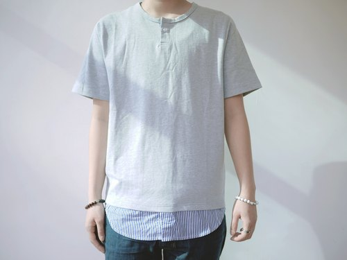Longline tee with patchwork layer button up collar /cotton/shirt/henley