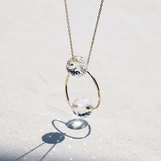 14 kgf - twist ring crystal quartz (special cut) 2 way necklace