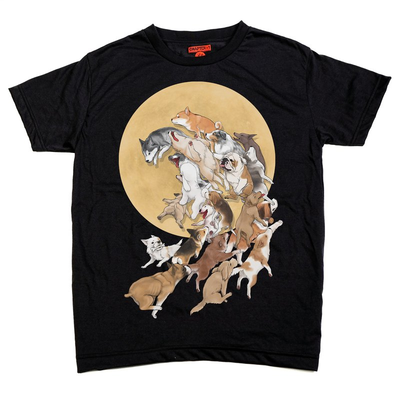Dog wave with moon Chapter One T-shirt