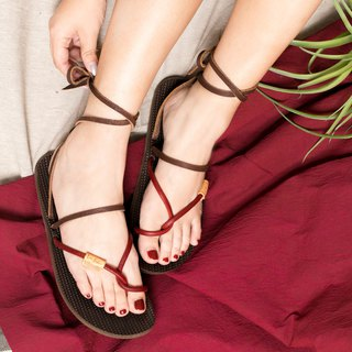 Tied rope roman sandals _ red