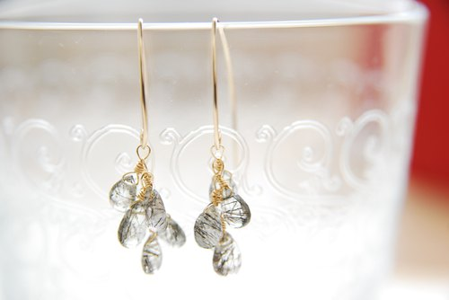 Suzuru Small Tourmaline Quartz Marquis Hook Earrings 14 kgf