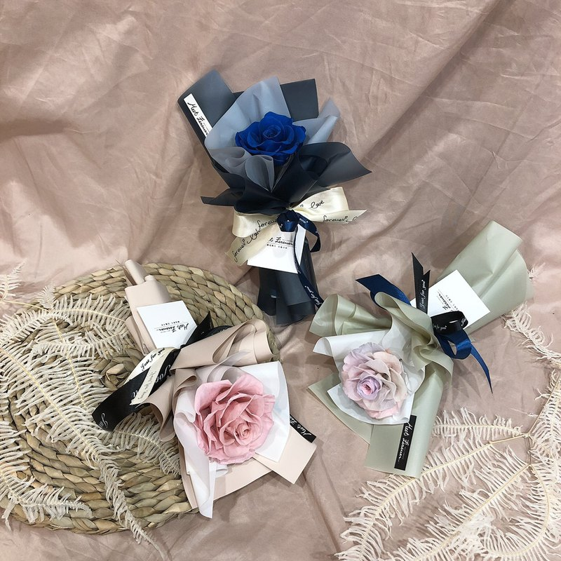 [Meet Everlasting] Single Rose Bouquet Valentine's Day Bouquet A total of two dark blue powder