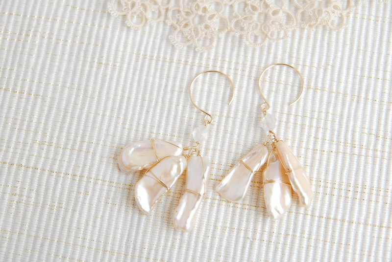 Biwa Pearl and Rose Quartz Earrings 14kgf