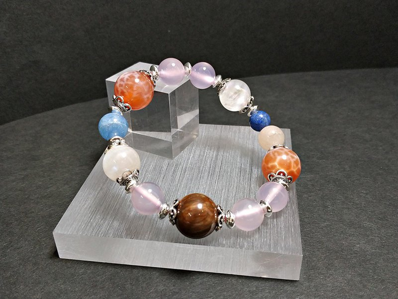 Full of love - sea agate + moonstone + sea sapphire + pink chalcedony + wood fossil + blue line stone