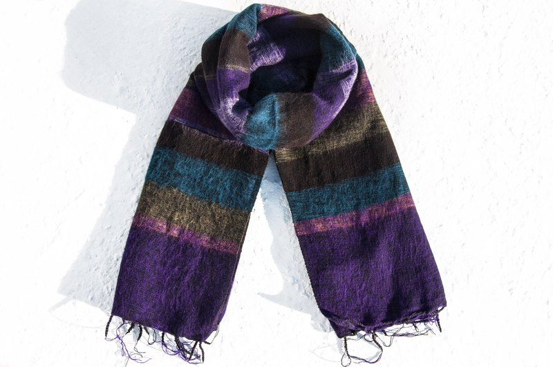 Valentine's Day Gifts Mother's Day gift limited edition of a national wind wool shawl / boho wool knitted scarves / wool hand-woven scarves / knitted wool shawls / wool blankets - Moroccan colors simple fashion purple lavender