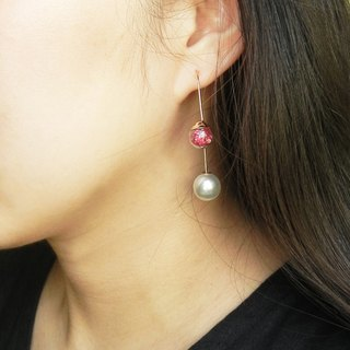 *coucoubird*- Confidence - rose red diamond pearl ear hook