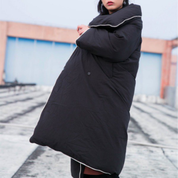 Extra long version black bed warm quilt 90% velvet warm down jacket thick loose winter coat