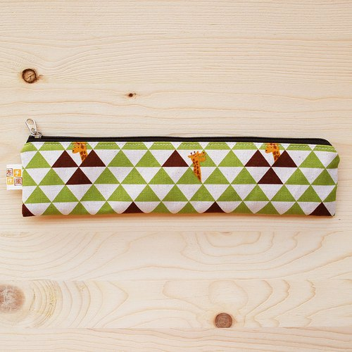 Triangle grid giraffe zipper chopsticks bag chopsticks group _ green