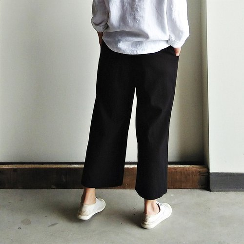 Elastic straight pants pants blend black