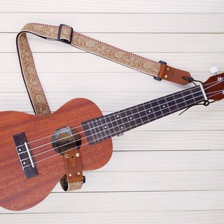 Brown Fabric Retro Ukulele Strap 3in1