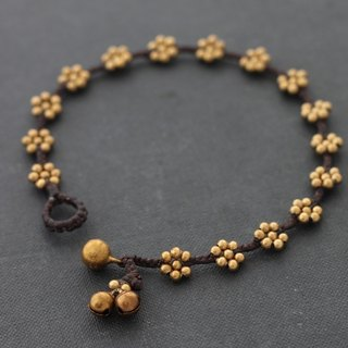 Brass Beads Flower Anklets Raw Brass Beaded Braided Cotton Cord Anklets