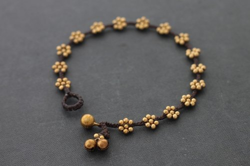 Brass Beads Flower Anklets Raw Brass Anklets Beaded Anklets Flower Anklets Boho Anklets Woven Ankle Bracelets Small Gift Fot Her Gift For Friend