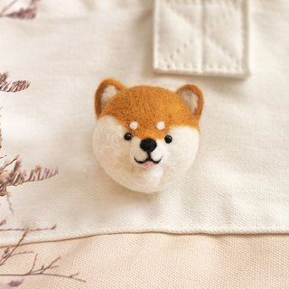 (with film teaching) stay cute Shiba Inu head pin wool felt material package