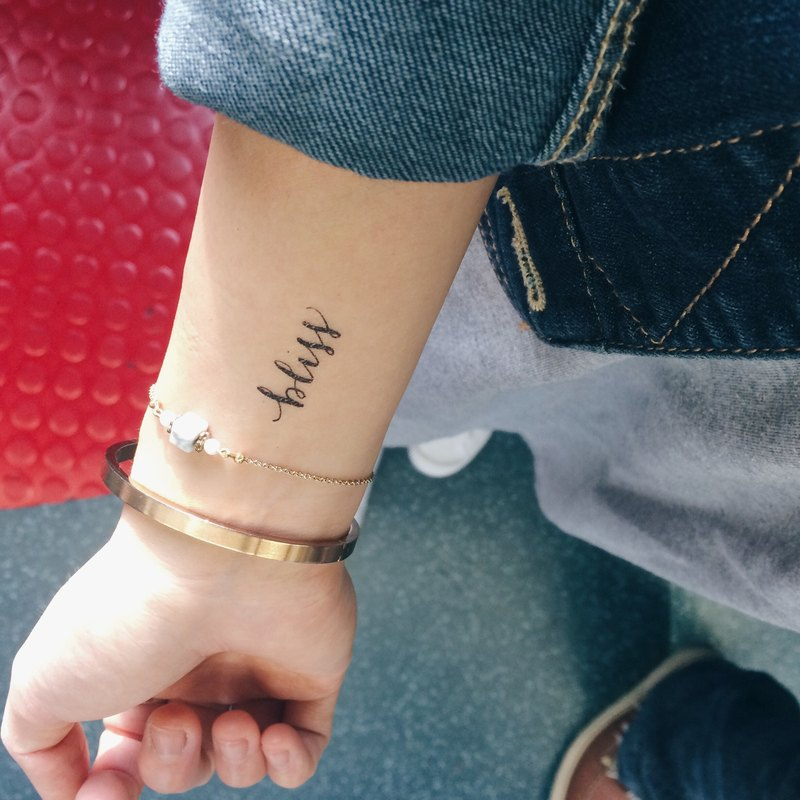 "cottontatt ""bliss"" calligraphy temporary tattoo sticker"
