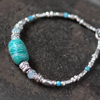Cuigu __ natural ore sterling silver bracelet Mozambique blue green Tianhe stone sea blue sapphire blue turquoise