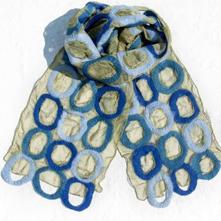 Handmade wool felt scarves / wet felt scarves / watercolor art scarf / wool scarf - little water jade color