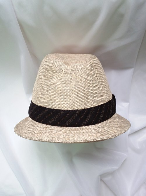 Beige cotton gentleman hat (Fedora Hat)