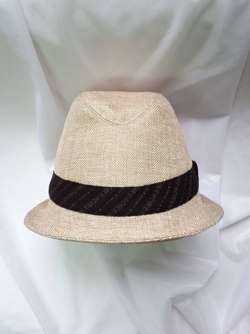 Beige cotton hemp cap (Fedora Hat)
