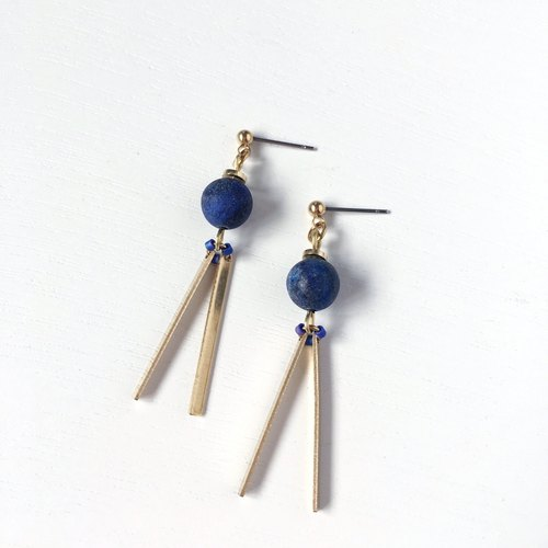 Brilliant ◆ [gravel series] Mercury natural stone green stone sand surface brass strip earrings ear ear clip