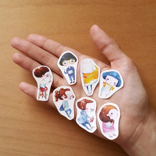serious 7  watercolor stickers // small //