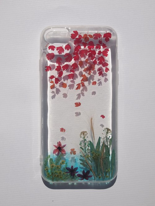 Pressed flower phone case, Handmade phone case,iPhone7 and iPhone8, Lakeside