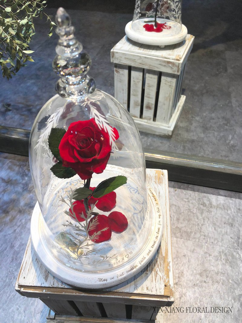 Valentine's Day Everlasting Flower Beauty Flower Beast Rose Glass Cup Impression Floral Exclusive