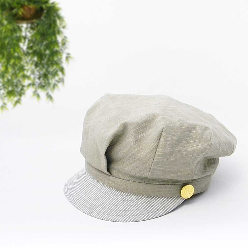 Simple work cap with visor stripes. Tuck News Boy Cap 【PS0605-KH】