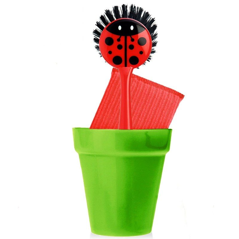 Spanish brand Vigar - ladybug kitchen brush with three pieces