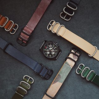 NATO STRAP NATO strap simple handmade custom Italian vegetable tanned leather hand dyed black