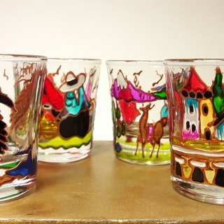 Peru Cusquenian landscape glass - small / 4 sets of cups