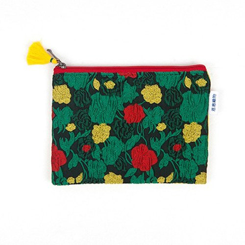 은 혜 직 물 pouch / Green Korean Style Flower Cloth Flower Zipper Bag M (18x13cm)