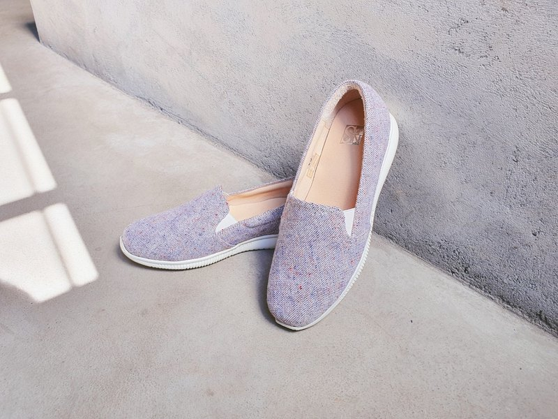 [Walking in the Clouds] Japanese cloth super lightweight casual flower shoes - blue