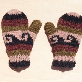 Limited edition knitted pure wool warm gloves / children's gloves / child gloves / inner bristles gloves / knitted gloves / boxing gloves - earth tones