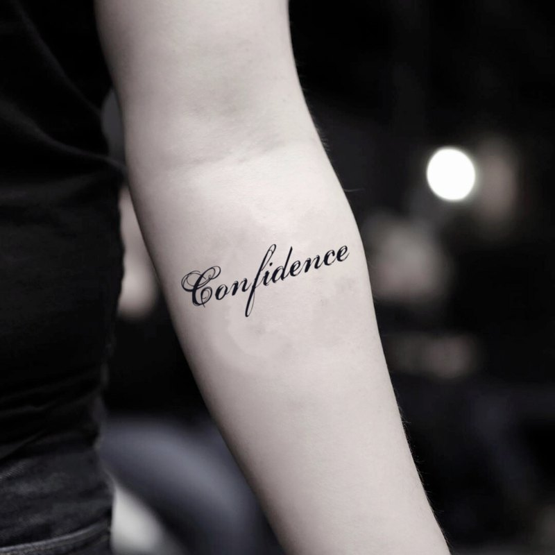 Confidence Temporary Fake Tattoo Sticker (Set of 2) - OhMyTat