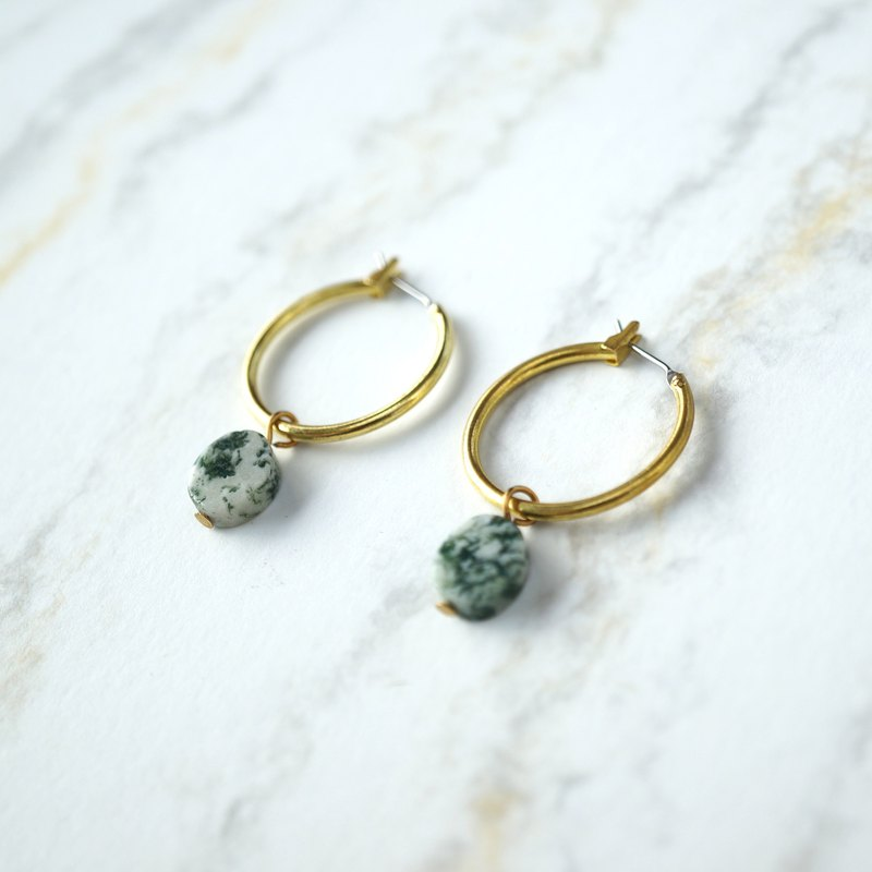 ITS-E114 [circle brass earrings series / oval natural stone] natural stone earrings ear clip ear clip