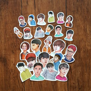 Half-length boy sticker group 24 into