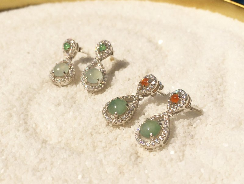 Light Rain - Natural Ice Emerald (Burma Jade) Water Drop Earrings