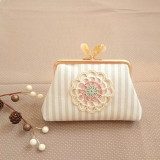 [LCG+/ Lace mouth gold bag] 12cm. Natural crystal stone. Amber. Limited one!