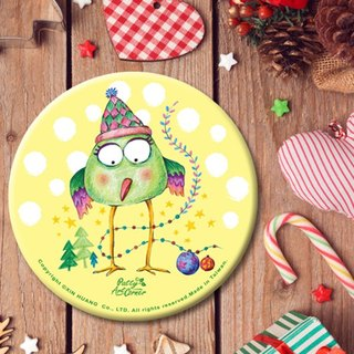 Painted Absorbent Ceramic Coasters – Christmas bird