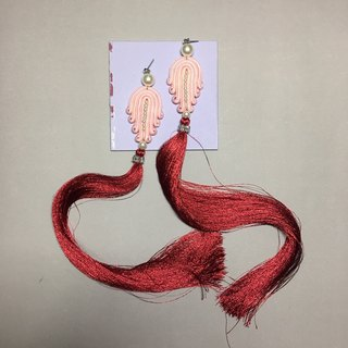 earrings : long tassel red