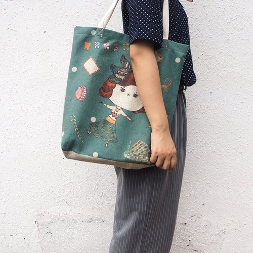 Hair band small buns buns cotton and linen green bags portable literary fresh storage bags