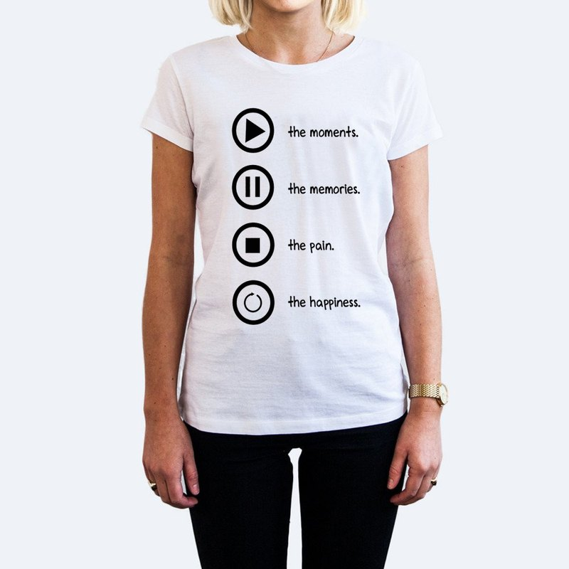 Player Quote Sign Rewind Pause Play Stop female short-sleeved T-shirt -2 color Play Pause Stop symbol rotation