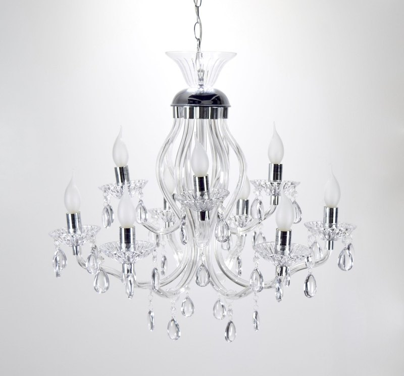 BNL00094-Acrylic Curve Tube 9 Light Chandelier