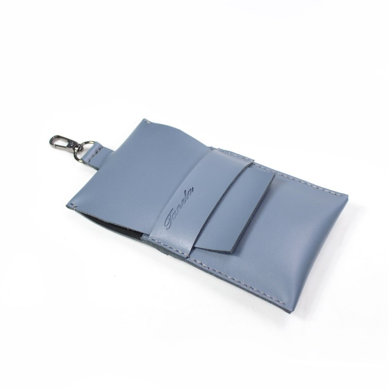 grey color leather i-phone plus mobile case with metal hook