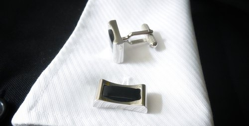Curves Bar Onyx Cufflinks