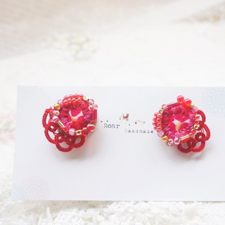Handmade Earrings, Embroidery X Tatting, Cotton
