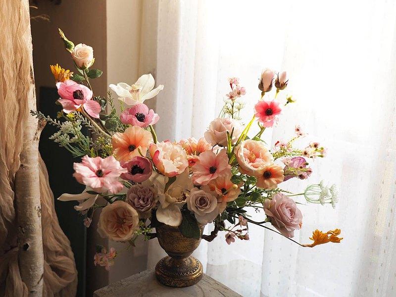 日本擬真自然風浪漫桌花│花藝體驗課程│一人成班│婚禮 七夕