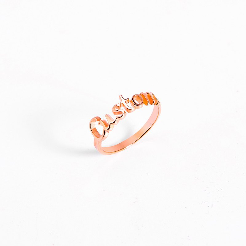 Customized letter ring / English name silver ring / couple ring custom / plated rose gold - suitable for men and women